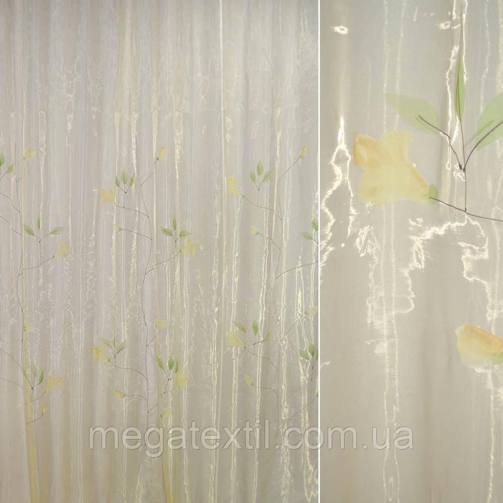 Органза шампань з високими жовтими квітами (30502.021)