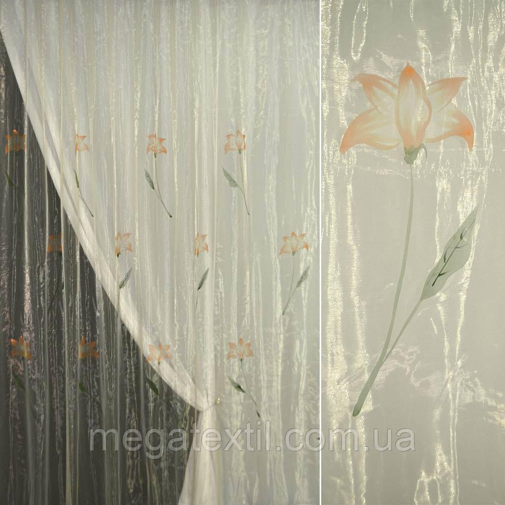 Органза шампань з теракотовими квітами (30502.022)