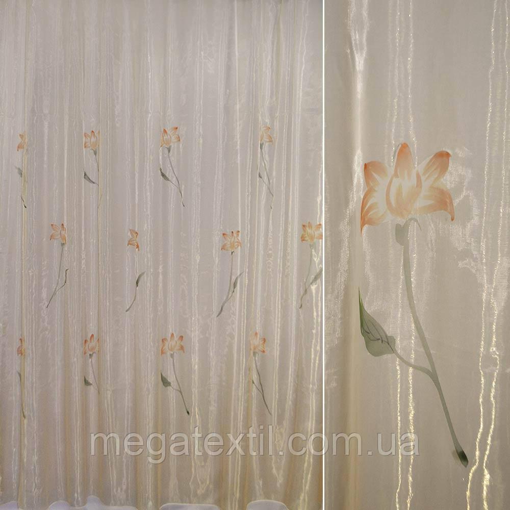 Органза шампань з теракотовими високими квітами (30502.023)