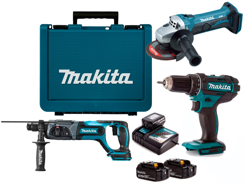 Набор аккумуляторного инструмента Makita DLXMUA241A + 3 акб 18 V 3 Ah + з/у + кейс