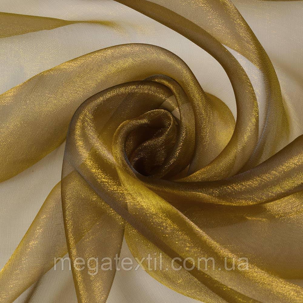 Мус-органза коричнева з золотим відливом ш.275 (30508.055)