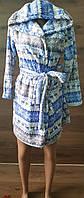 Детский халат для подростка из велсофта на запах с новогодним принтом 38-42 р, халаты от производителя оптом
