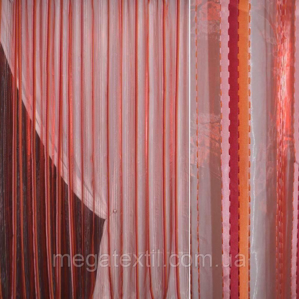 Органза красная с оранжевыми и розовыми полосками и нитями (30519.001)