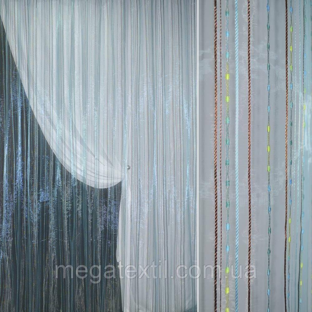 Органза голубая с разноцветными шенилловыми полосками, ш.280 (30522.001)