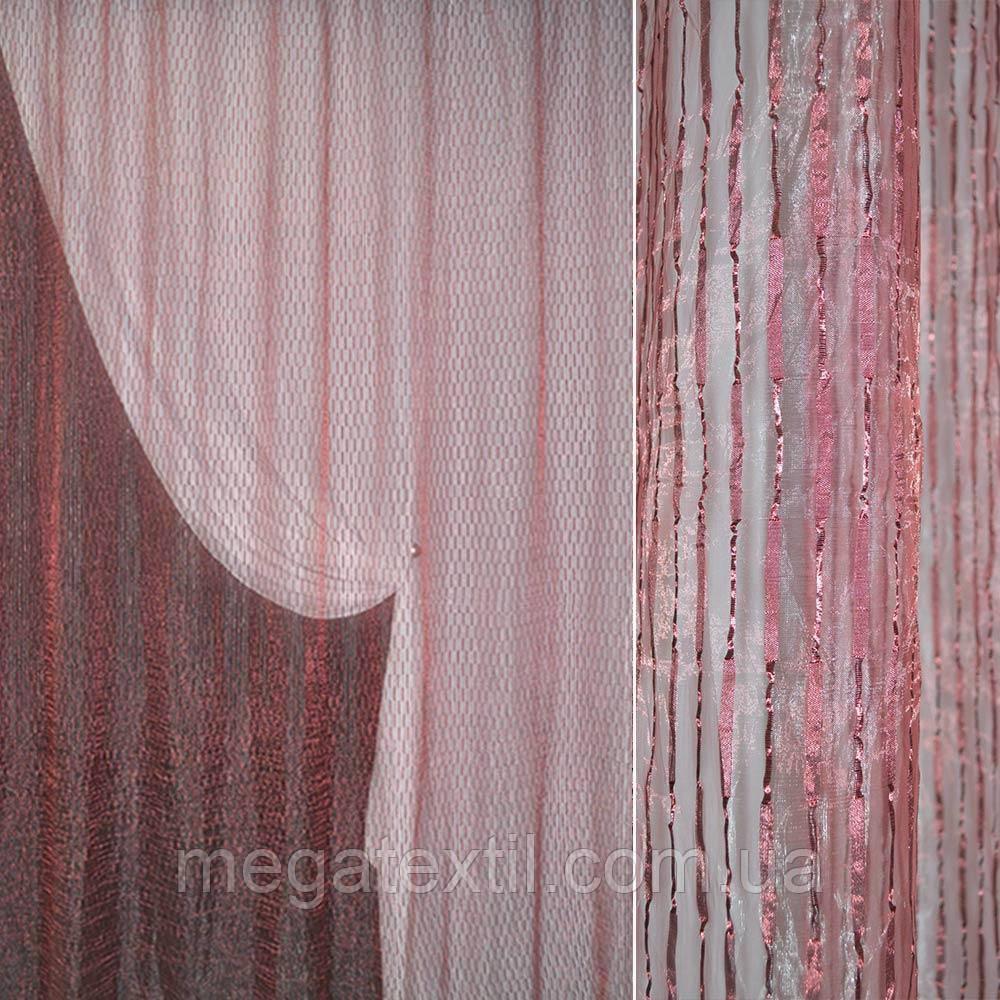 Органза жатая бордовая с бордовыми атласными полосками и прямоугольниками (30526.005)