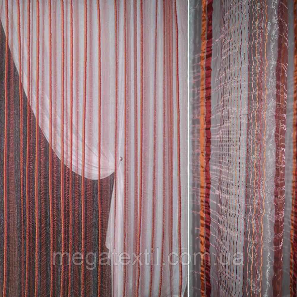 Органза жатая бордо с терракотово-бордовыми жаккардовыми полосками (30528.004)