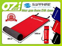 Коврик для йоги и фитнеса EVA 180x60 Sapphire 6мм