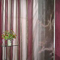 Органза+шелк в полоску коричнево-бордовую ш.300