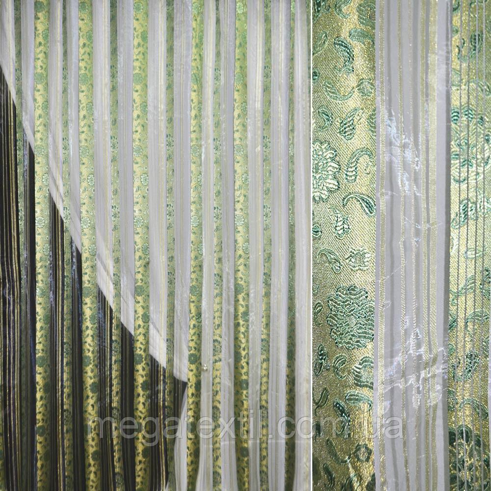 Органза молочная с золотисто-зелеными парчовыми полосами и цветами, ш.275 (30537.003)
