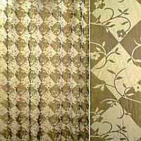 Органза двойная фукра золотая в ромбы и цветы (30553.001)