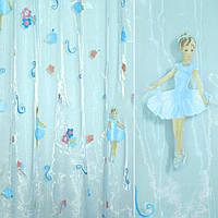 Органза штамп голубая с балериной и цветами ш.275 (30564.001)