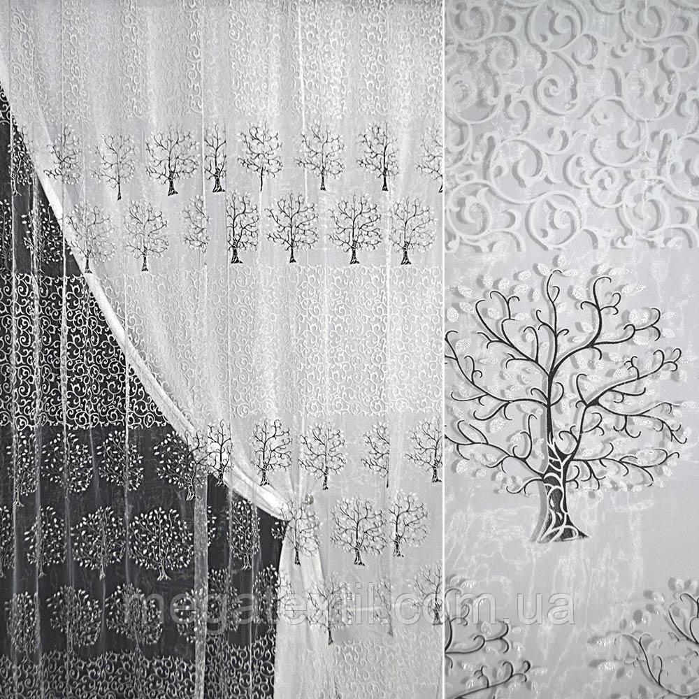 Органза біла з завитками і чорними деревами купон штамп ш.280 (30565.008)