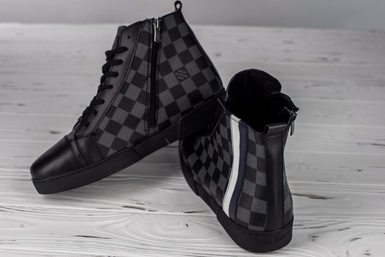 7c1cf238ceab6 Мужские высокие зимние кеды Louis Vuitton шахматы топ реплика -  Интернет-магазин обуви и одежды