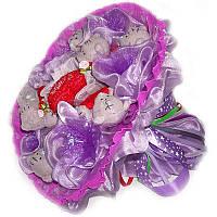 Букет из мягких игрушек 7 Мишек Тэдди в фиолетовом с сердечками