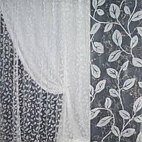 Органза з флоком біла з листям ш.280 (30578.004)