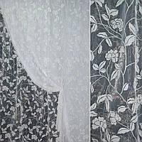 Органза з флоком біла квіти ш.280 (30579.014)