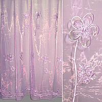 Органза фіолетова бліда з вирізними великими квітами (30618.009)