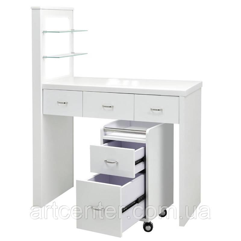 Белый стол для маникюра с передвижной тумбой и витриной для лаков