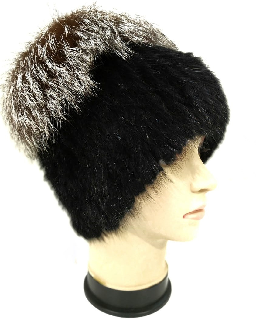 шапка кубанка вязаная из ондатры комбинированная с мехом чернобурки