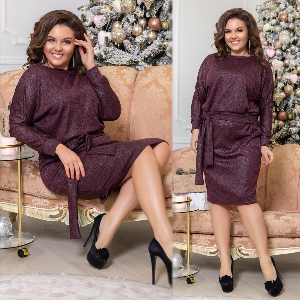 3b02df41657 Красивое женское платье батал из ангоры с напылением  продажа