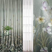 Блэкаут серебристо-бирюзовый с цветами и полосами (купон) ш.270 (31002.001)