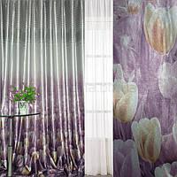 Блэкаут серебристо-фиолетовый с тюльпанами и полосами (купон) ш.270 (31002.002)
