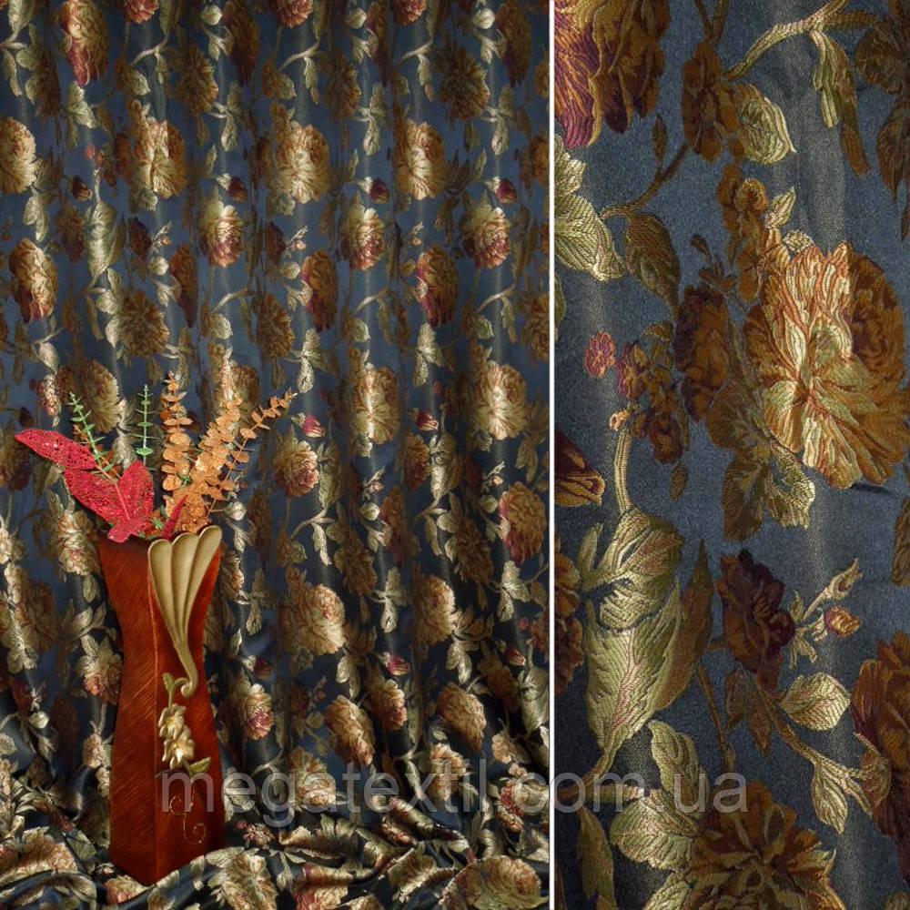 Жаккард портьєрний чорно-бордовий з олив-коричневими трояндами ш.290 (31416.005)