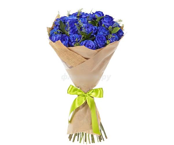"""Букет з оригінальних синіх троянд """"Вишуканість"""""""