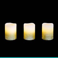 Набор свечей воск. LED 3шт., 5*6.5, золото