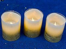 Набор свечей воск. LED 3шт., 5*6.5, золото, фото 2