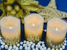Набор свечей воск. LED 3шт., 5*6.5, золото, фото 3