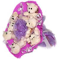 Букет из мягких игрушек Мишки белые 7 в фиолетовом