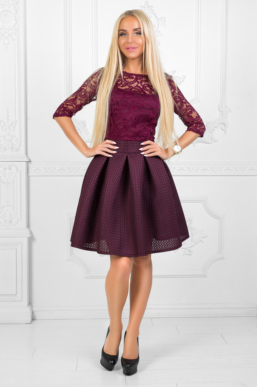 272df23979a Платье Цвета Марсала с Гипюровым Верхом — в Категории