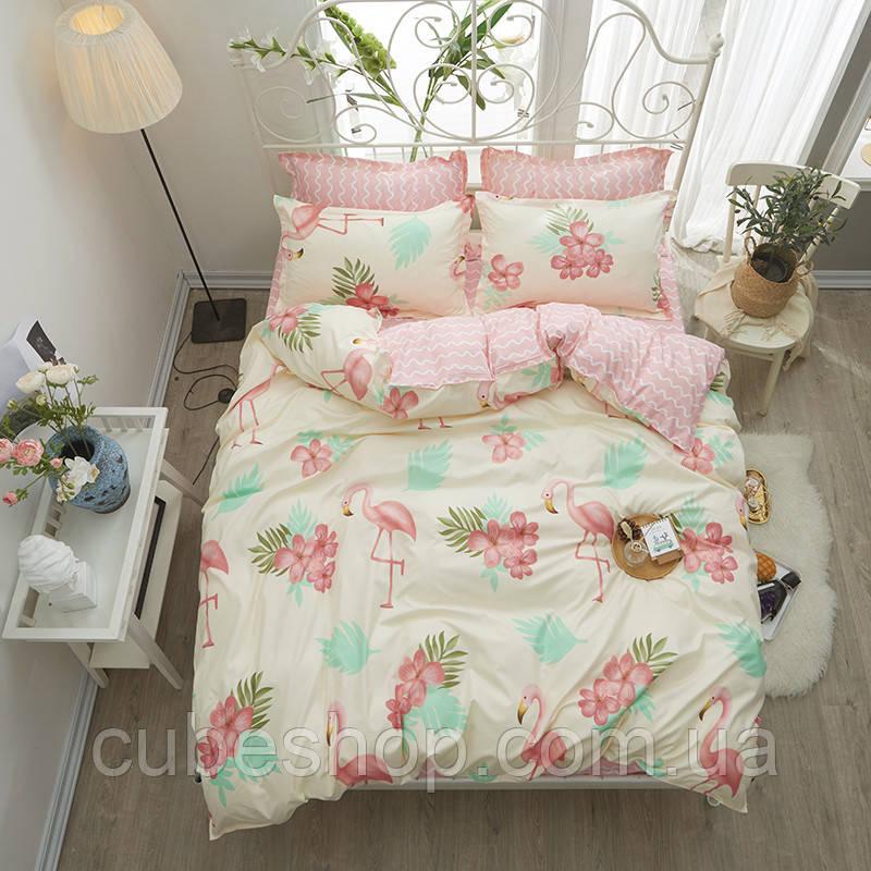 """Комплект постельного белья """"Фламинго и цветы"""" (двуспальный-евро)"""