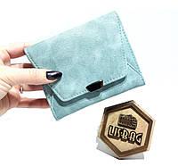 bbc7b9892b0a Яркий, легкий женский Голубой мини кошелек тройного сложения на каждый день