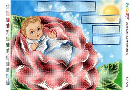 БСР-4203. Схема для вишивки бісером Метрика для хлопчика.