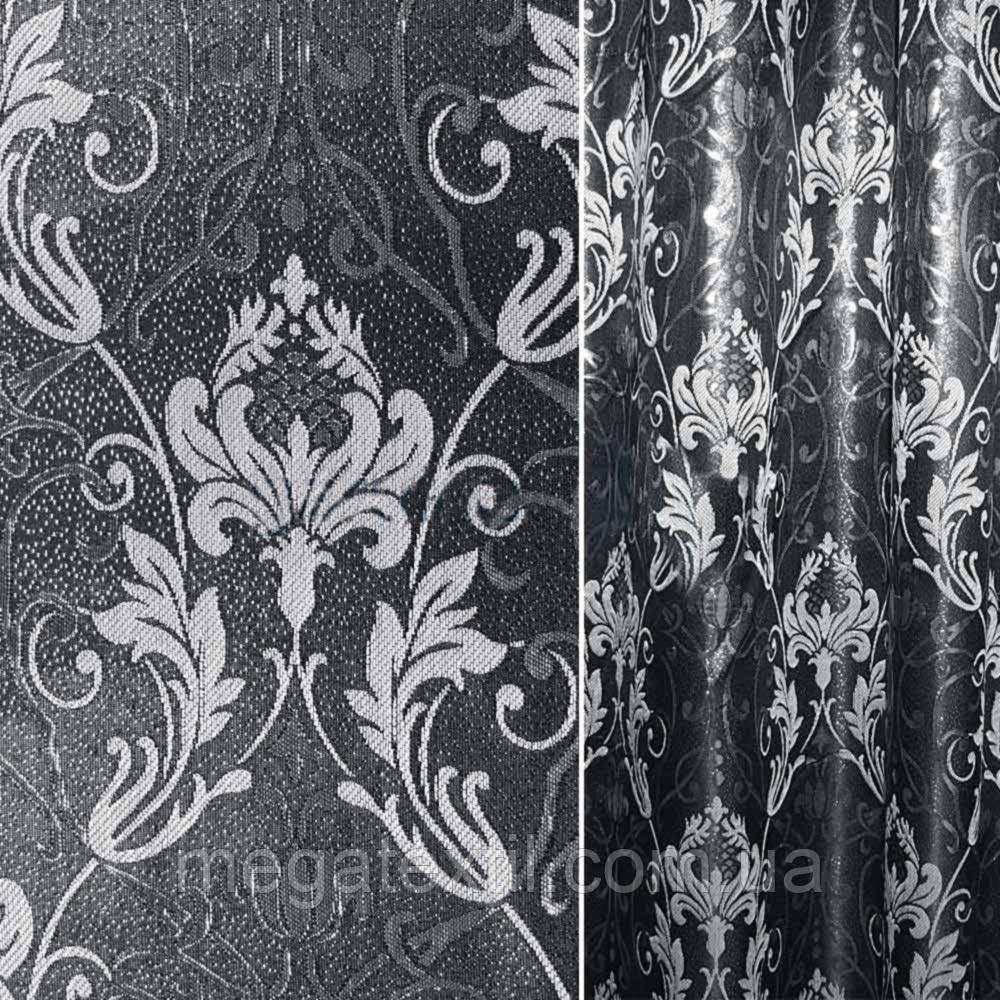 Жаккард з метаниткою чорний з молочними квітами і вензелями ш.280 (31520.040)