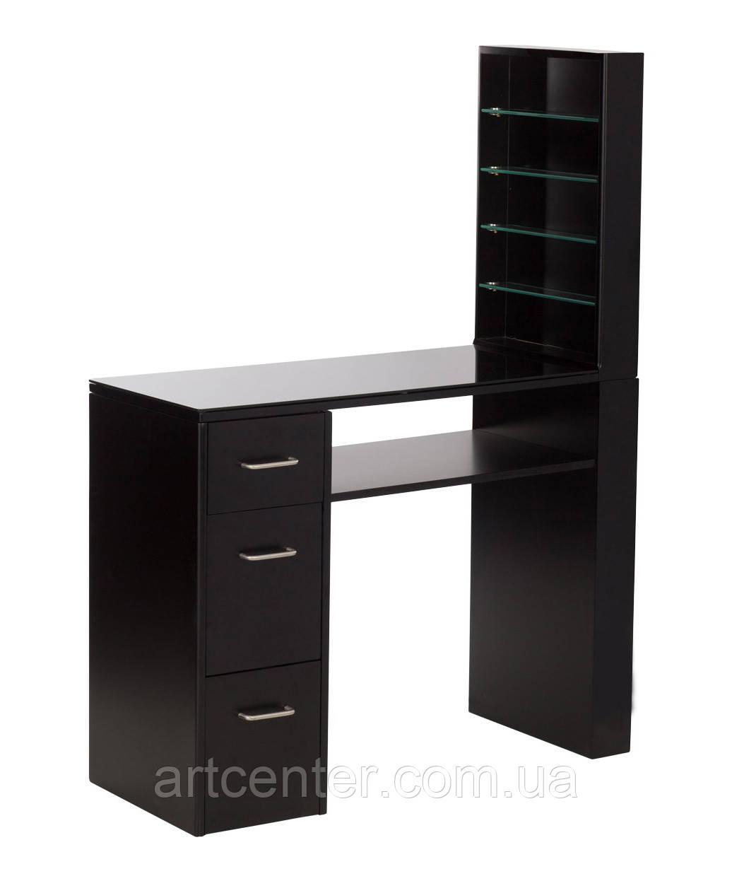 Манікюрний стіл з вітриною для лаків, чорного кольору