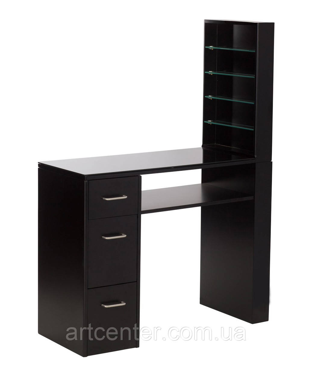 Маникюрный стол с витриной для лаков, черного цвета