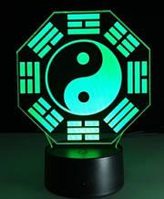 """3D лампа-нічник """"Інь-Янь"""" 1102, прекрасний предмет декору у домі"""