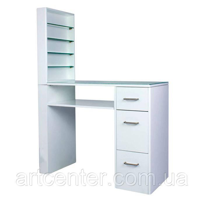 Стол для маникюра с витриной для лаков, белого цвета