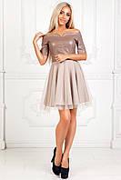 Платье из эко кожи с открытыми плечами