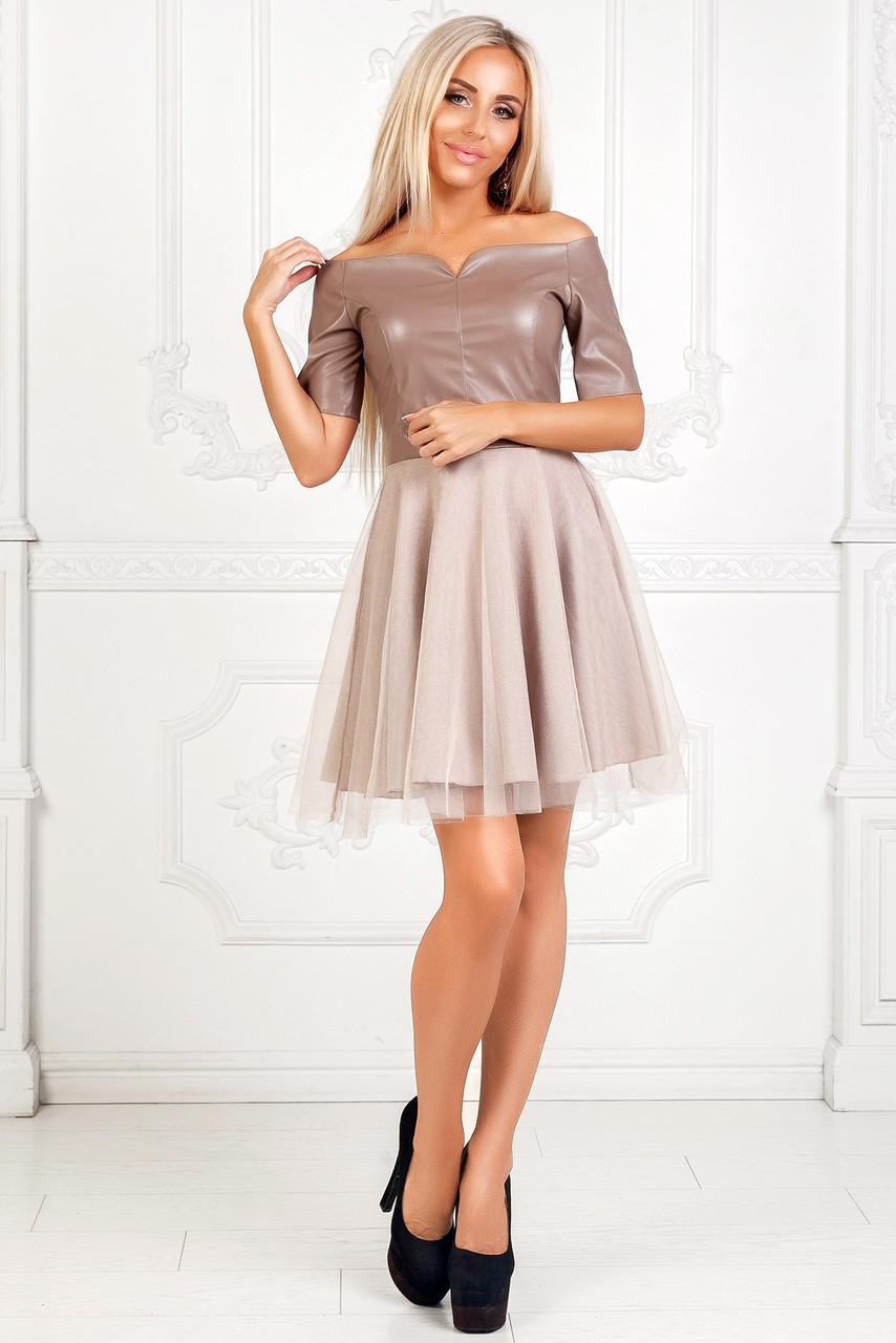 936b4d841c6 Платье из эко кожи с открытыми плечами - Интернет-магазин