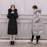 Распродажа!Пальто-пуховик женский зимний белый утиный пух, натуральный мех енота .Серый.