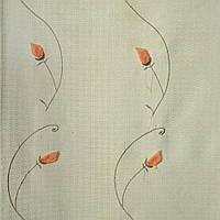 Рогожка портьерная зеленая вышитая с оранжевыми розами ш.280 (32000.001)