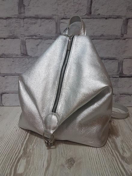 Рюкзак жіночий Паріс натуральна шкіра, срібний флотар, Камілла