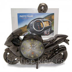 Фоторамка з годинником і будильником Мотоцикл