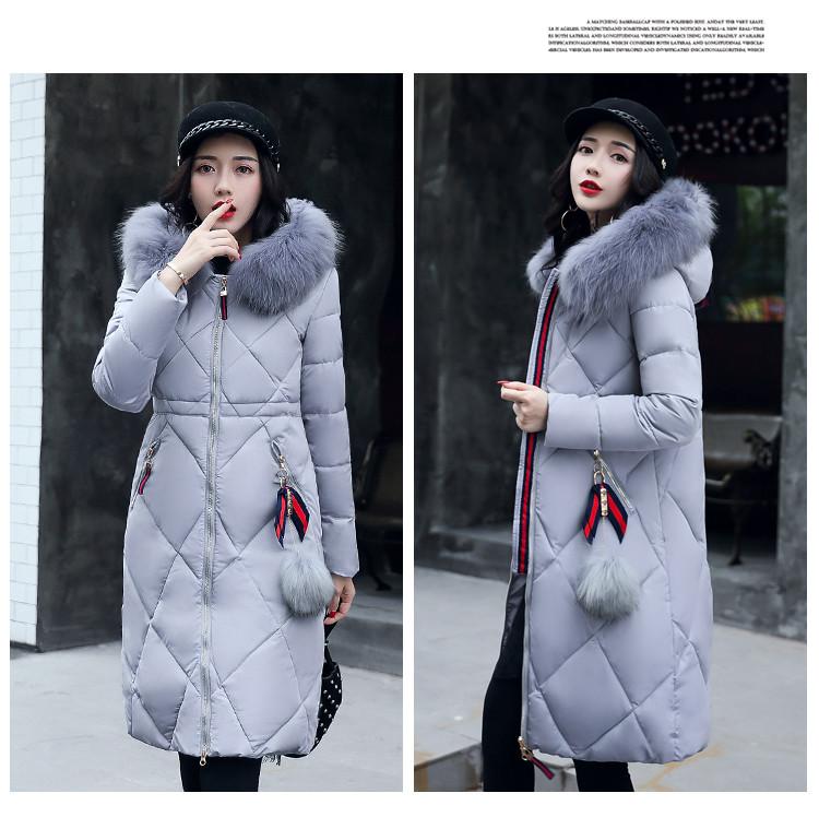 Розпродаж моделі!Стьобаний жіночий зимовий пуховик пальто капюшон з хутром сірий