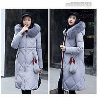 Стёганый женский зимний пуховик пальто капюшон с мехом серый