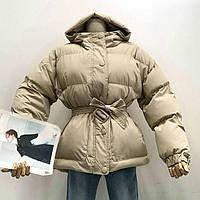 Женская куртка пуховик Зефирка бежевая, фото 1